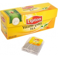 Черный чай в пакетиках Yellow Label ТМ Lipton, 25штх2г