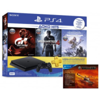 Игровая приставка Sony PlayStation 4 Slim 500Gb Black(HZD+GTS+UC4+Wargaming+PSPlus 3М)