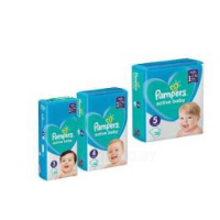 Подгузники Active Baby, Midi3/Maxi4/ Junior 5 ТМ «Pampers» - 38/46/54 шт