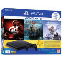 Консоль SONY PlayStation 4 Slim 1Tb Black (GTS+GOW+HZD+PSPlus 3М) (9785316)