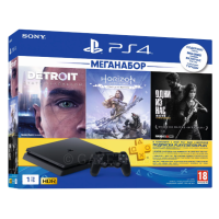 Игровая консоль Sony PlayStation 4 Slim 1Tb (Black) + 3-месячная подписка PSPlus + 3 игры (Detroit, Horizon Zero Dawn, The Last Of Us) 9926009