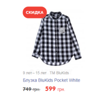 9 лет – 15 лет   TM BluKids Блузка BluKids Pocket White