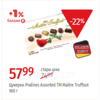 Цукерки Pralines Assorted ТМ Maitre Truffout 180 г