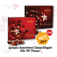 "Цукерки Assortment Classic/Elegant 154г ТМ ""Рошен"""