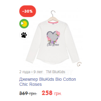 Джемпер BluKids Bio Cotton Chic Roses